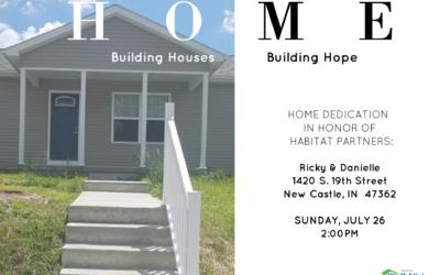 Home Dedication July 26, 2020 at 2:00 pm